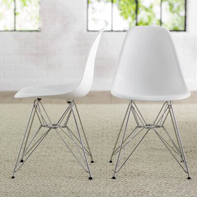 Brook Modern Side Chair Finish: White