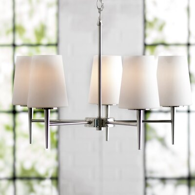 Ganador 5-Light Shaded Chandelier Bulb Type: 100 Watt A19 Medium, Finish: Brushed Nickel