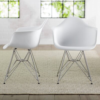 Neville Arm Chairs Upholstery: White Matte