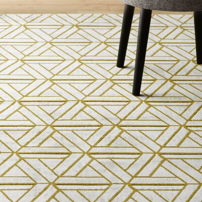 Ginsberg Light Gray/Gold Area Rug Rug Size: 76 x 106