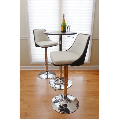 Los Santos Adjustable Height Swivel Bar Stool Upholstery: Wenge / Cream