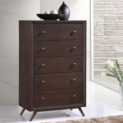 Modesto 5 Drawer Chest Color: Cappuccino