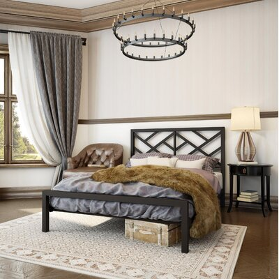 Palm Hills Open-Frame Headboard and Footboard Size: Full, Finish: Textured Dark Brown