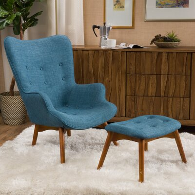 Canyon Vista Mid-Century Lounge Chair and Ottoman Upholstery: Blue