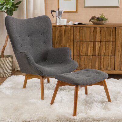 Canyon Vista Mid-Century Wingback Chair Set Upholstery: Dark Grey