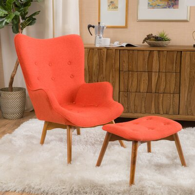 Canyon Vista Mid-Century Wingback Chair Set Upholstery: Orange
