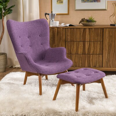 Canyon Vista Mid-Century Lounge Chair and Ottoman Upholstery: Purple