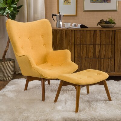 Canyon Vista Mid-Century Lounge Chair and Ottoman Upholstery: Yellow