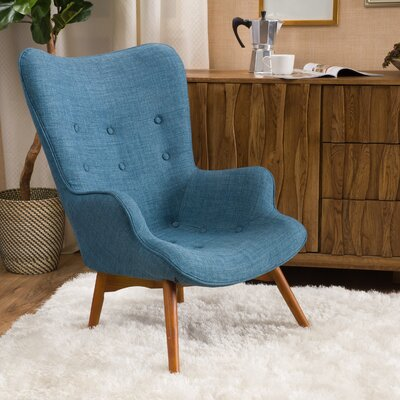Canyon Vista Mid-Century Wingback Chair Upholstery: Blue
