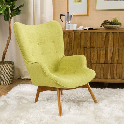 Canyon Vista Mid-Century Wingback Chair Upholstery: Green