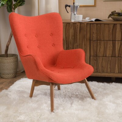 Canyon Vista Mid-Century Wingback Chair Upholstery: Orange