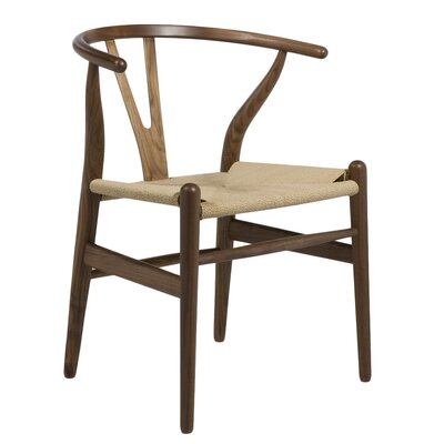 Villa Court Wishbone Solid Wood Dining Chair Finish: Walnut
