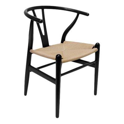 Villa Court Wishbone Solid Wood Dining Chair Finish: Black