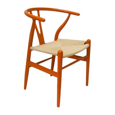 Villa Court Wishbone Solid Wood Dining Chair Finish: Orange