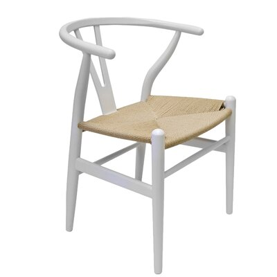Villa Court Wishbone Solid Wood Dining Chair Finish: White