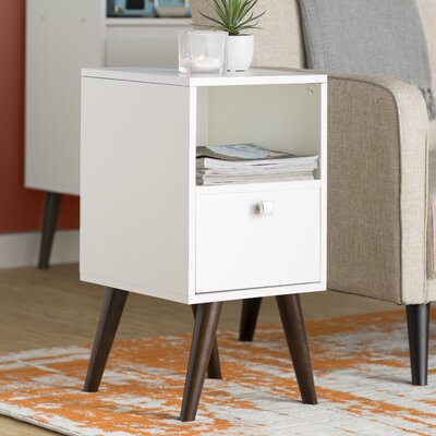 Carneal 1 Drawer Nightstand Finish: White