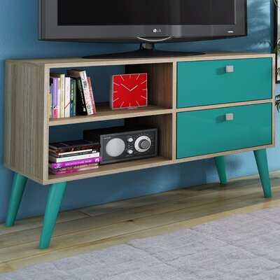 Carneal TV Stand Finish: Oak/Aqua