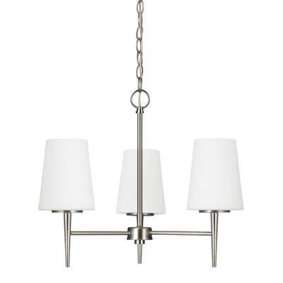 Ganador 3-Light Shaded Chandelier Bulb Type: 100W A19 Medium, Finish: Brushed Nickel