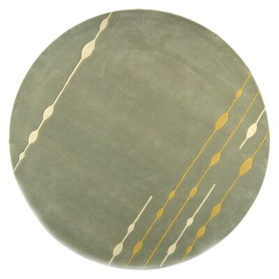 Bermondsey Hand-Tufted Light Green Area Rug Rug Size: Round 6