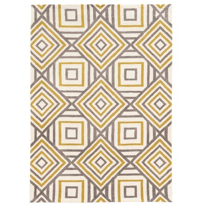Noam Hand-Tufted Beige/Gray/Yellow Area Rug Rug Size: Rectangle 5 x 7