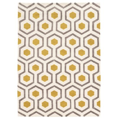 Noam Hand-Tufted Beige/Gray/Yellow Area Rug Rug Size: 5' x 7'