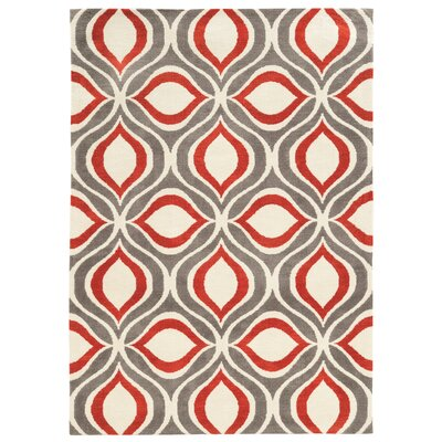Patricio Hand-Tufted Beige/Gray/Red Area Rug Rug Size: Rectangle 2' x 3'