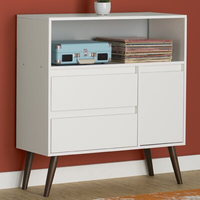 Carneal End Table With Storage Color: White