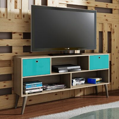 Carneal 53.15 TV Stand Color: Oak/Aqua