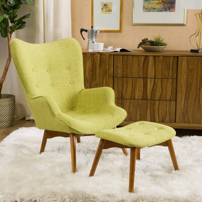 Canyon Vista Lounge Chair and Ottoman Upholstery: Green