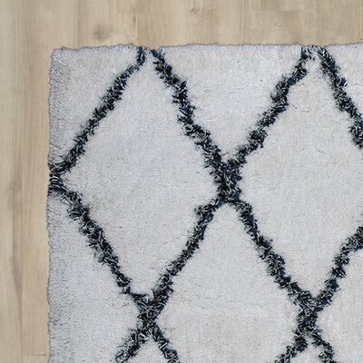Vaquero Hand-Tufted White/Blue Area Rug Size: Rectangle 9 x 12