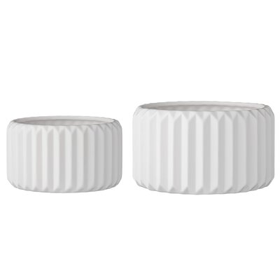 Langley Street Junius 2 Piece Fluted Round Pot Planter Set