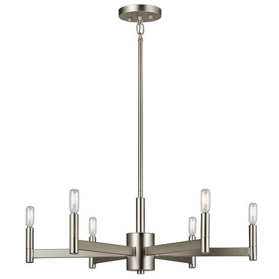 Gavin 6-Light Candle-Style Chandelier Finish: Satin Nickel