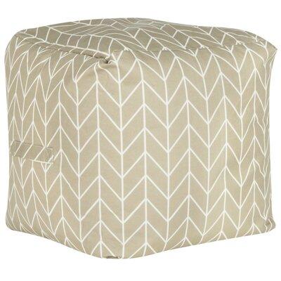 Chenango Pouf Ottoman Upholstery: Greige/White