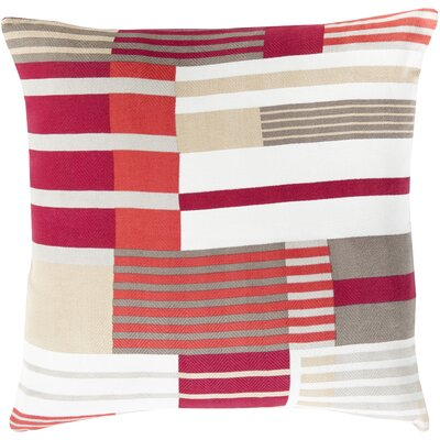 Powers 100% Cotton Throw Pillow Cover Size: 22 H x 22 W x 0.25 D, Color: Pink