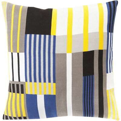 Powers 100% Cotton Throw Pillow Cover Size: 18 H x 18 W x 0.25 D, Color: YellowBlack
