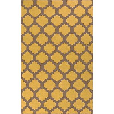 Hackbarth Hand-Woven Gold Area Rug Rug Size: 8 x 11