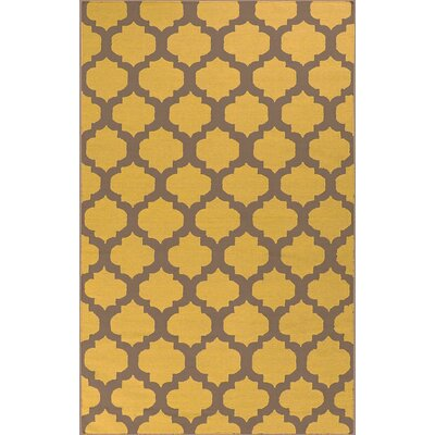 Carlton Hand-Woven Gold Area Rug Rug Size: 8 x 11