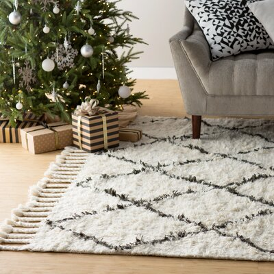 Twinar Hand-Knotted Wool Off White/Dark Grey Area Rug Rug Size: Rectangle 9 x 12