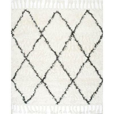 Twinar Hand-Knotted Wool Off White/Dark Grey Area Rug Rug Size: Square 8