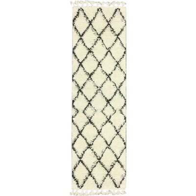 Twinar Hand-Knotted Wool Off White/Dark Grey Area Rug Rug Size: Runner 28 x 12