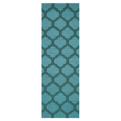 Hackbarth Hand-Woven Teal/Dark Green Area Rug Rug Size: Runner 26 x 8