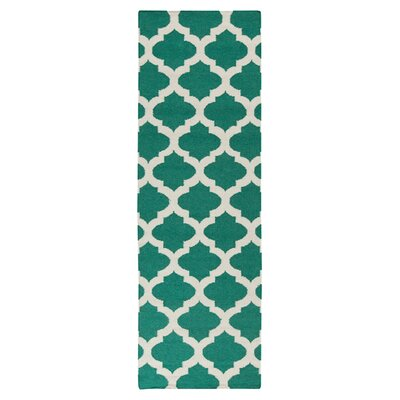 Hackbarth Hand-Woven Green/ White Area Rug Rug Size: Runner 26 x 8