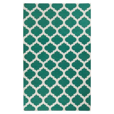 Hackbarth Hand-Woven Green/ White Area Rug Rug Size: 36 x 56