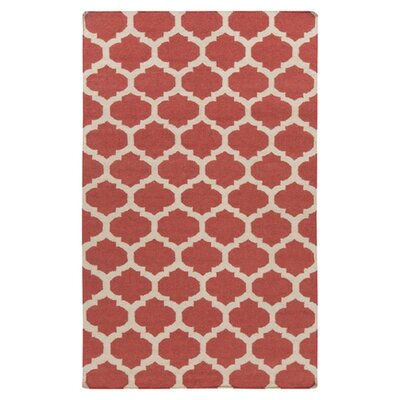 Carlton Hand-Woven Wool Red/White Area Rug Rug Size: 8 x 11