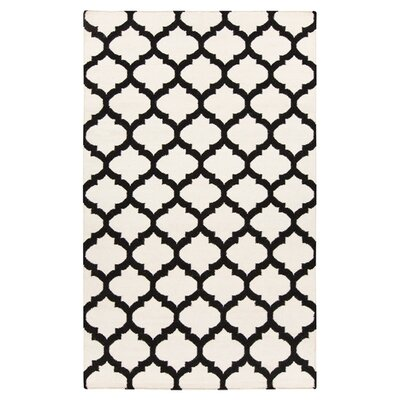 Carlton Hand-Woven Black/White Area Rug Rug Size: 36 x 56