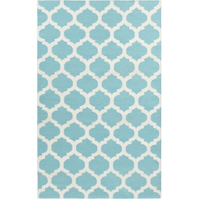 Hackbarth Hand-Woven Light Gray/Sky Blue Area Rug Rug Size: Rectangle 2 x 3