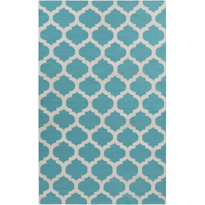 Ash Hand-Woven Light Gray/Sky Blue Area Rug Rug Size: 5 x 8