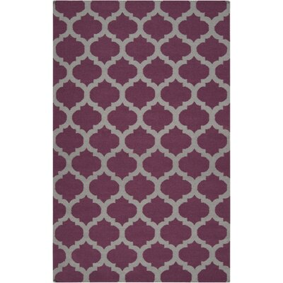 Hackbarth Hand-Woven Raspberry Wine/Gray Area Rug Rug Size: 5 x 8