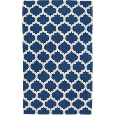 Carlton Hand-Woven Blue/Winter White Area Rug Rug Size: 5 x 8