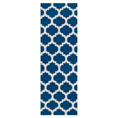 Hackbarth Hand-Woven Blue/Winter White Area Rug Rug Size: Runner 26 x 8